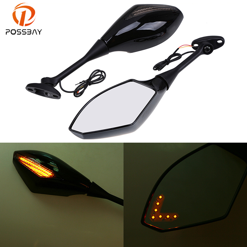 POSSBAY End Rearview Mirrors Cafe Racer Motorcycle LED Mirrors For Honda CBR600RR 2003-2008 CBR1000RR 2004-2008POSSBAY End Rearview Mirrors Cafe Racer Motorcycle LED Mirrors For Honda CBR600RR 2003-2008 CBR1000RR 2004-2008