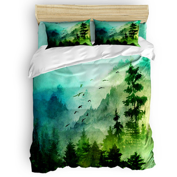 Green Forest Mountain Morning Duvet Cover Set Nature Environment Collection of 3/4pcs Bedding Set Bed Sheet Pillowcases Set