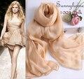 100% bufanda de seda de la marca de lujo bufandas para mujer Nueva primavera de la moda estilo de verano 2015 hembra huevo color nude musulmán del mantón wraps hijab