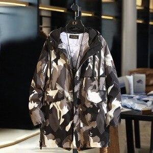 Image 4 - B חדש אביב מעילי Mens הסוואה ארוך מעיל רוח מעילי הלבשה עליונה מזדמן רופף ברדס מעיל בתוספת גודל 10XL