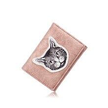 bced52a1d310f YEMEKE 2019 nowa wersja krótki damski portfel kot hafty najlepszy portfel  kobiet Case etui na telefon
