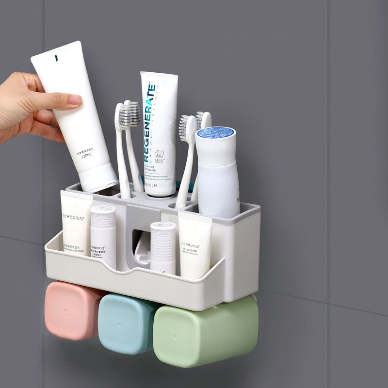 AODMUKI Toothbrush Holder Toothpaste Squeezer Dispenser Bathroom Accessories Sets Bathroom Storage Box Case Household Items