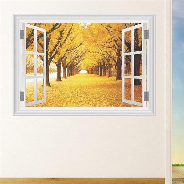 3D Window Autumn Landscape View Wall Sticker Decals Art Decor Mural ...