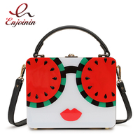 Trend Watermelon Lemon Cartoon Character Design Acrylic Box Style Female Party Handbag Shoulder Bag Crossbody Bag Ladies Pouch