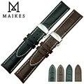 Maikes nova chegada homens e mulheres pulseira de couro e aço inoxidável 316L borboleta fivela faixa de relógio
