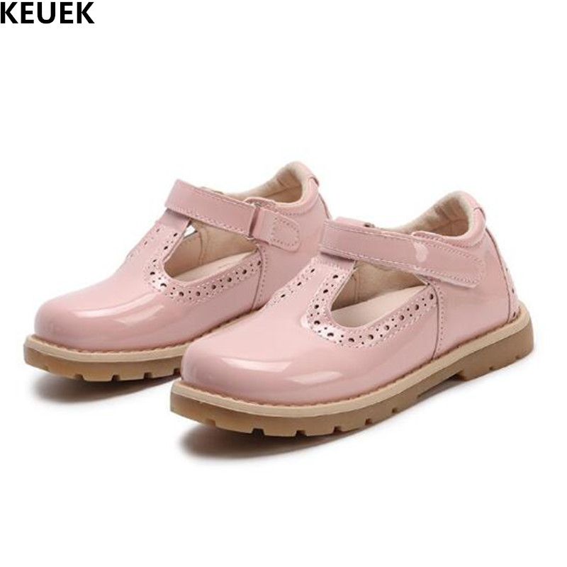 New British Retro Leather Shoes Child Girls Shoes Red Pink Black Baby Toddler Flat Soft Bottom Princess Party Kids Shoes 041