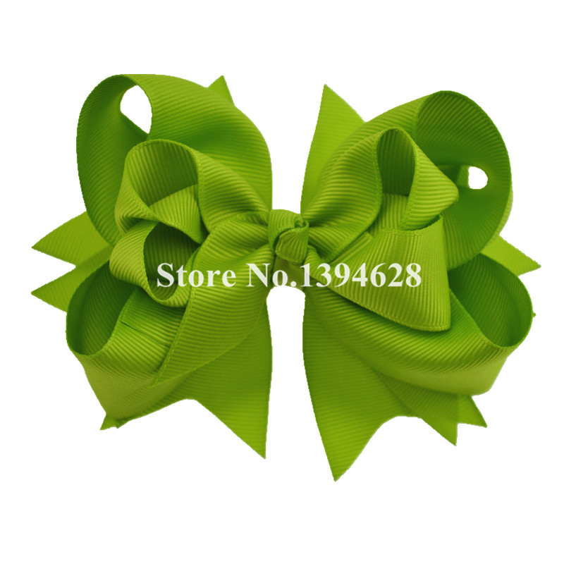 $1/1PCS 5 inches 3 Layers Solid Apple Green Baby Hair Bows With 6cm Hair Clips Boutique Ribbon Bows For Girls Hair Accessories