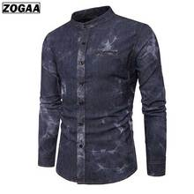 ZOGAA Mens Casual Cowboy Shirts For Men 2 Colors Fashion Smart Stand Collar Shirt Clothes 2018