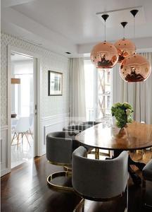 Image 4 - Lukloy lâmpada pendente de bola de vidro, estilo moderno, espelhado, de cor de cobre, iluminação moderna, luminárias 1 peça