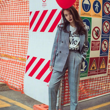 Pants suit jacket Women Two-piece Female set 2019 autumn new retro slim check long-sleeved fashion loose wild pants