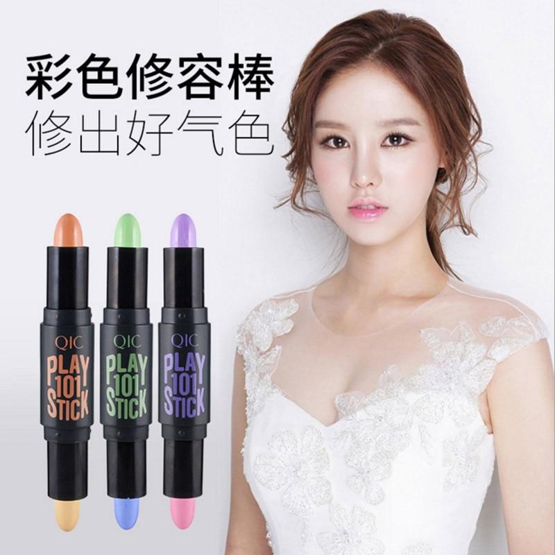 QIC 3D Shimmer Shine Highlighter Foundation Stick Bronzer Contour Makeup Pen 3D Face Cream Highlight Pencil Make Up