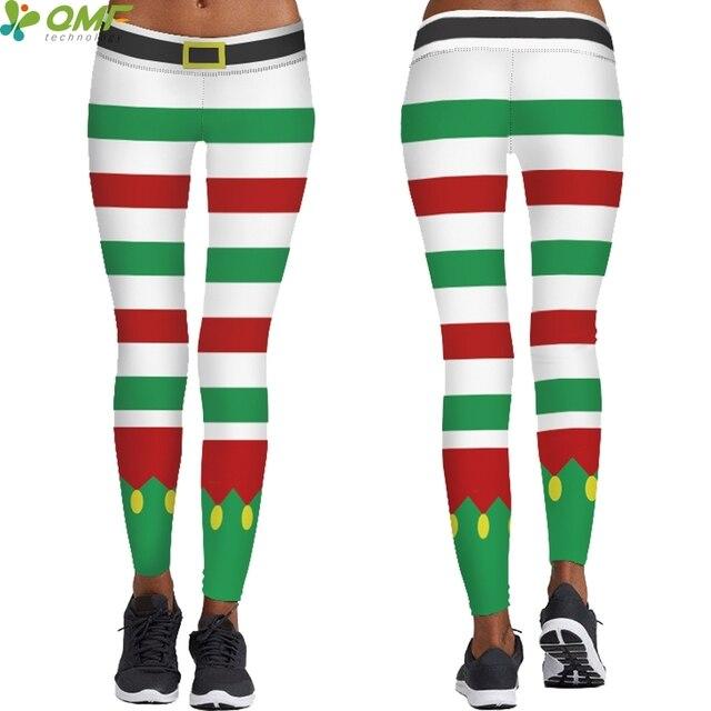Joyeux Noel Techno.10 68 Joyeux Noel De Yoga Leggings Colore Rayures Vacances Sportives Collants Santa Claus Costume Pantalon Maigre Tayt Pantalon Pour Les Femmes