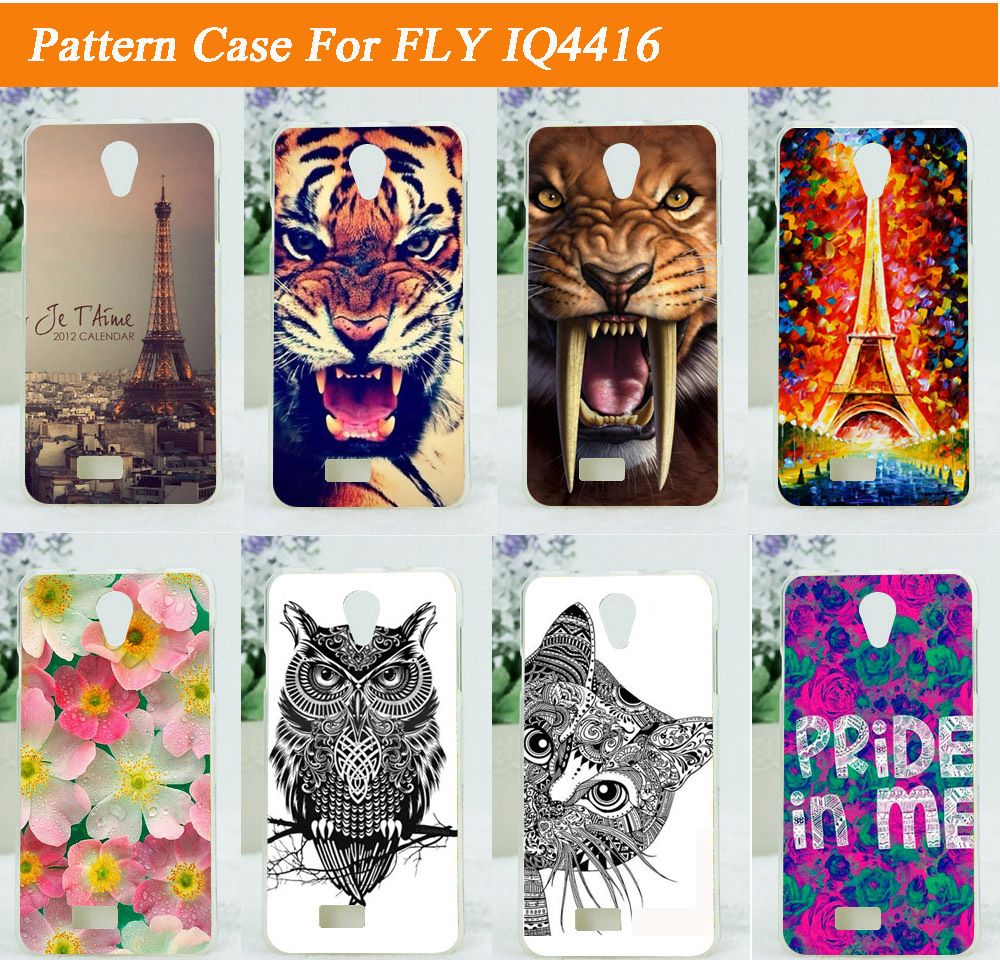 2015 new arrival Diy painted flowers animals eiffel tower design Case for Fly IQ4416 iq 4416 Era Life 5 Free Shipping