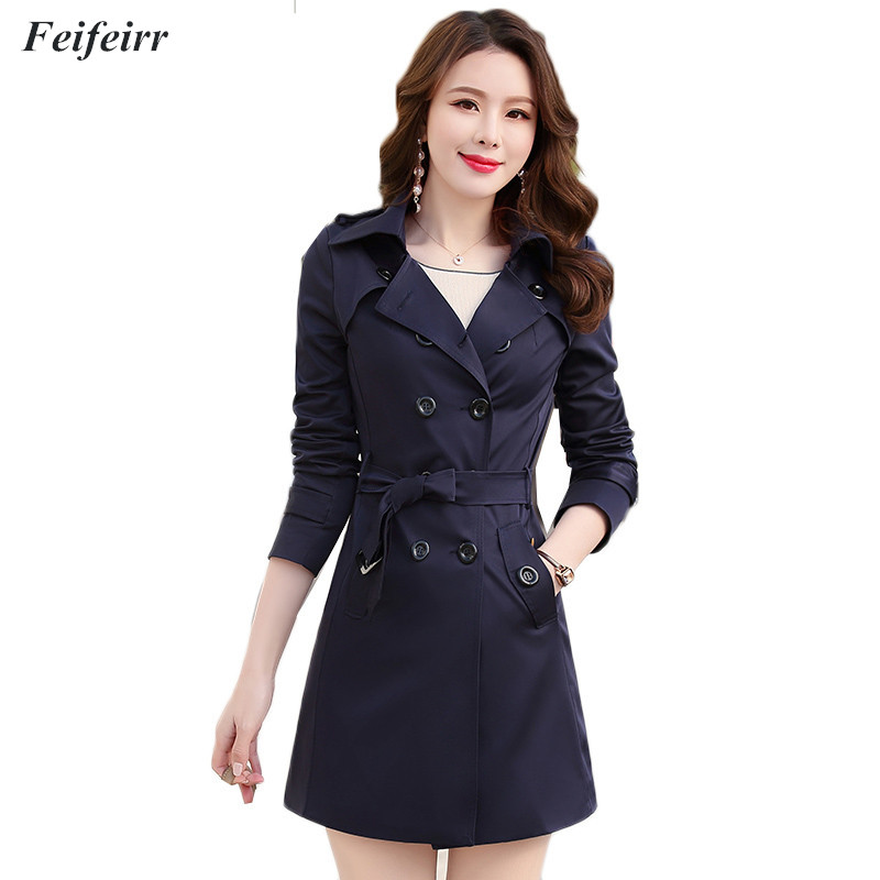 Autumn Winter 2018 New Korean version slim was thin Plus Size 6XL Trench Coat Classic Double Breasted Mid-Long Outerwear Mujer