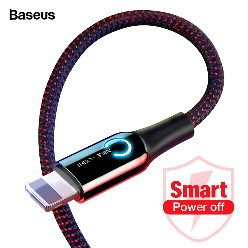 Baseus Iluminação LED Cabo USB Para iPhone XS Max XR X 8 7 6 6 S Plus SE Auto Desligar 2.4A Rápido Cabo De Carregamento do Carregador Cabo de Dados
