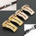 Nueva 16mm/18mm/20mm de acero inoxidable hebilla desplegable botón correa de cuero correa de hebilla de cierre de omega reloj de oro rosa de oro