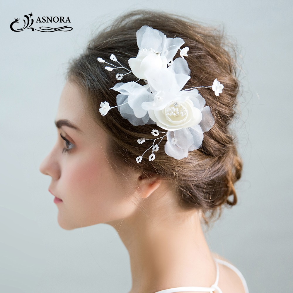 ASNORA Hairgrips Flower Bridal-Headbands Pearls Handmade Wedding Fashion Yarn Beads
