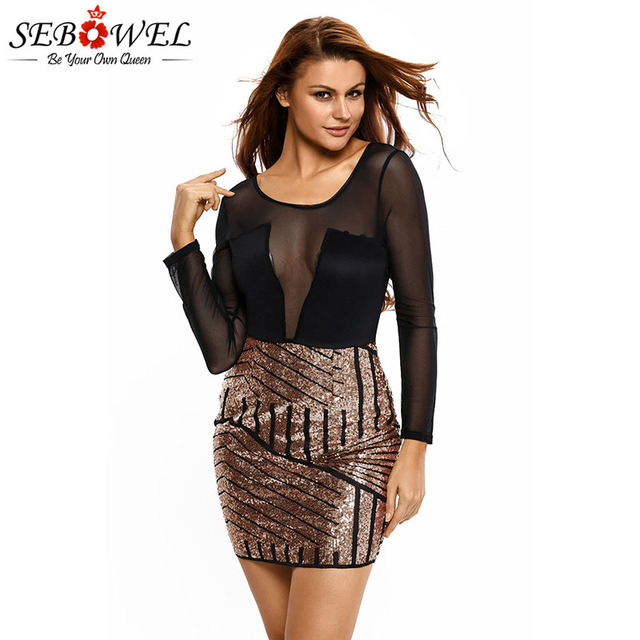 SEBOWEL 2019 Spring Long Sleeve Mesh Sequin Dress Woman Sexy Hot Female  Party Club Sheer Top Glitter Bodycon Curve Mini Dresses 557c924f3fcd