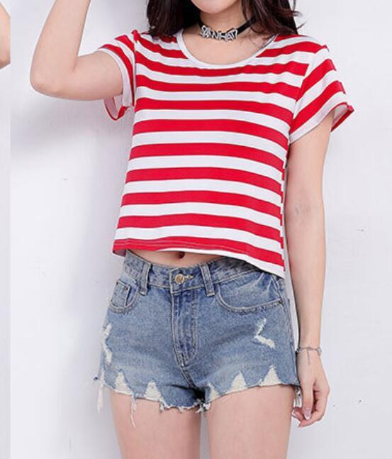 2018 summer Fringe Front Tee 2018 Summer Casual Women Multiple stripe  T shirt Round Neck Short Sleeve Regular Fit Tee Shirt