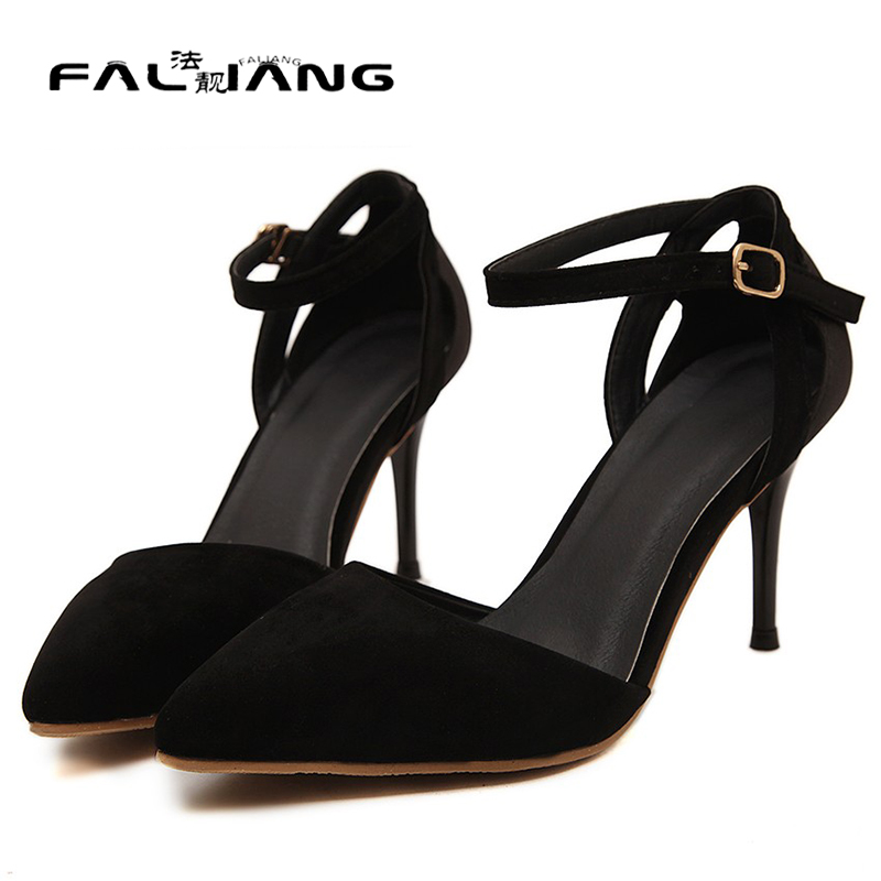 New 2016 women high heel shoes ankle tie pointed toe pumps women heels summer shoes fashion