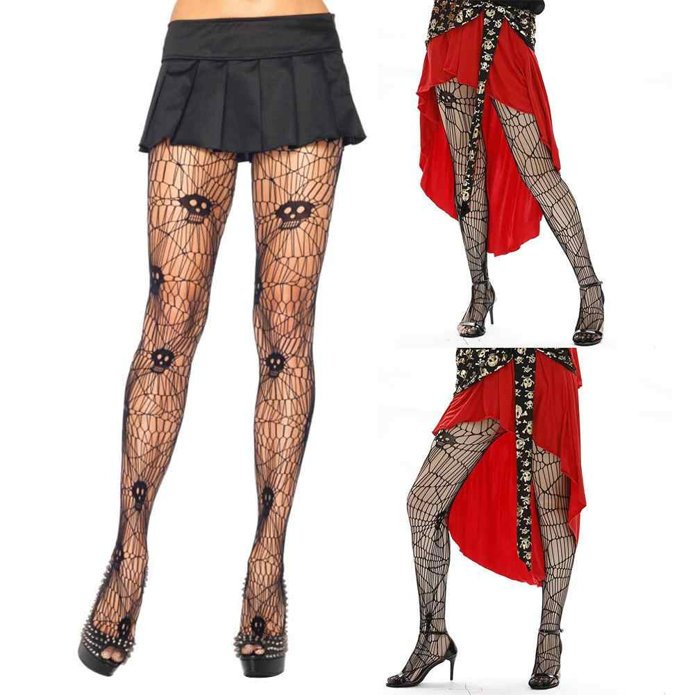 8180d1c429e Wholesale Halloween Skull Spider Web Tights Stockings Sexy Women Stretchy  Footed Pantyhose