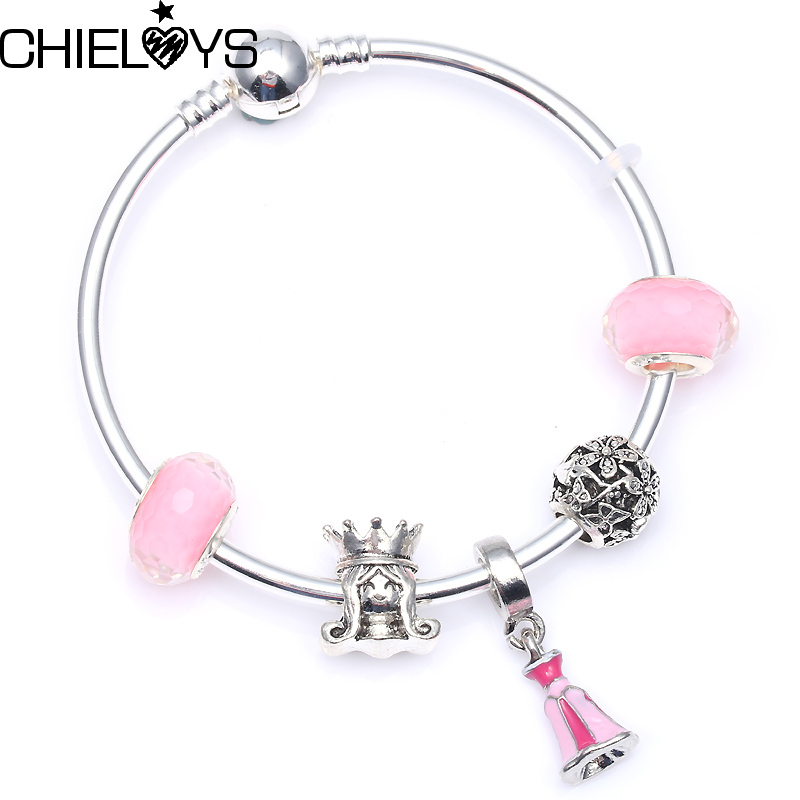 CHIELOYS Hot Sell European Style Mickey Bead Charm Bracelets American Charm Fits Pandora Bracelets & Bangles Women Jewelry