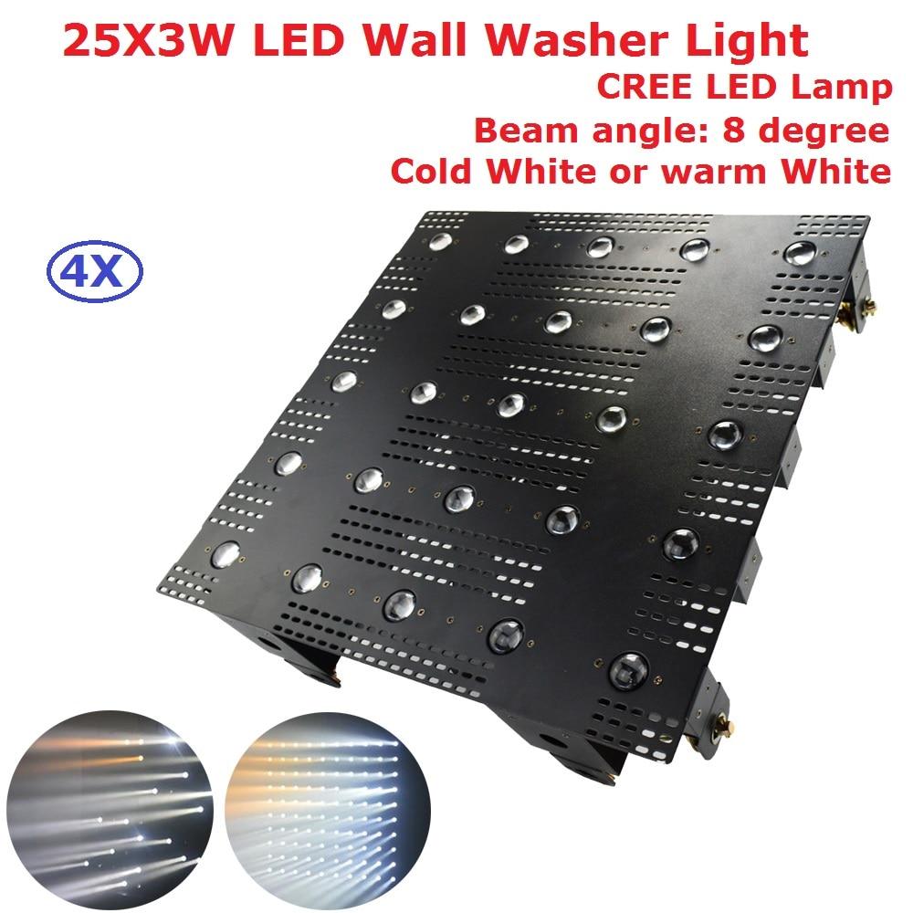 4Pcs Cold White <font><b>Led</b></font> Wall Washer Lights 25X3W Cree Lamp Beads <font><b>LED</b></font> <font><b>Matrix</b></font> Beam Light With 1/2/25/27 Chs For Dj Christmas Projector