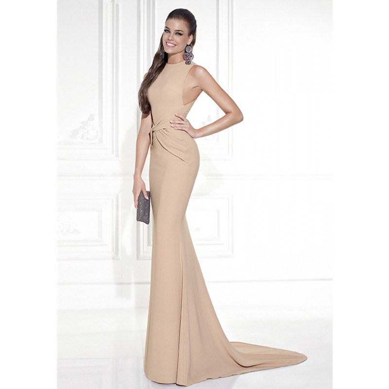 Long Mermaid Evening Dress For Women 92542 Elegant O Neck Sleeveless Champagne Color Party Dresses Robe De Soiree Longue In From Weddings
