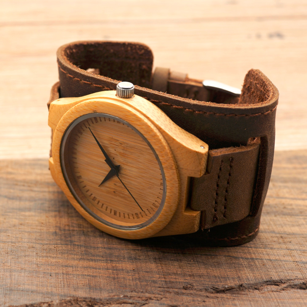 Bamboo Men and Women Wider Genuine Wristwatches 12
