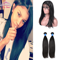 7A Malaysian Hair with 360 Lace Frontal With Straight Bundle 3PC Pre Plucked Malaysian Virgin Hair 360 Lace Frontal With Bundles