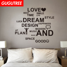 Decorate LOVE SMILE letter art wall sticker decoration Decals mural painting Removable Decor Wallpaper LF-108