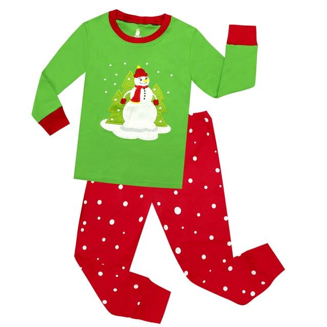 2018 new fashion boys christmas pajamas girls christmas pajama kids snowman xmas pyjamas children santa sleepwear - Girls Christmas Nightgowns