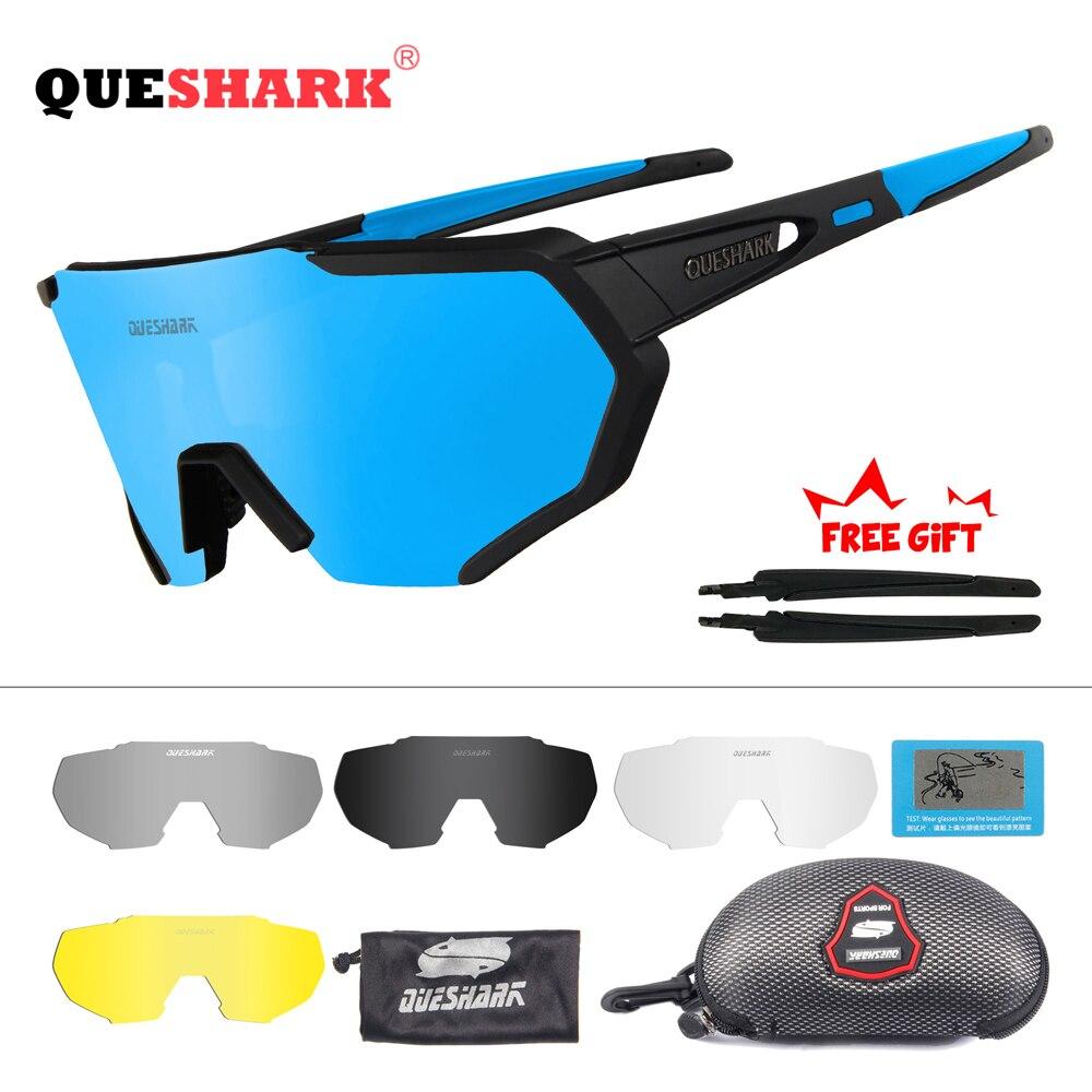QUESHARK 2019 nuevo diseño polarizado gafas ciclismo para hombre mujer bicicleta gafas ciclismo gafas de sol 5 lente espejo UV400 gafas