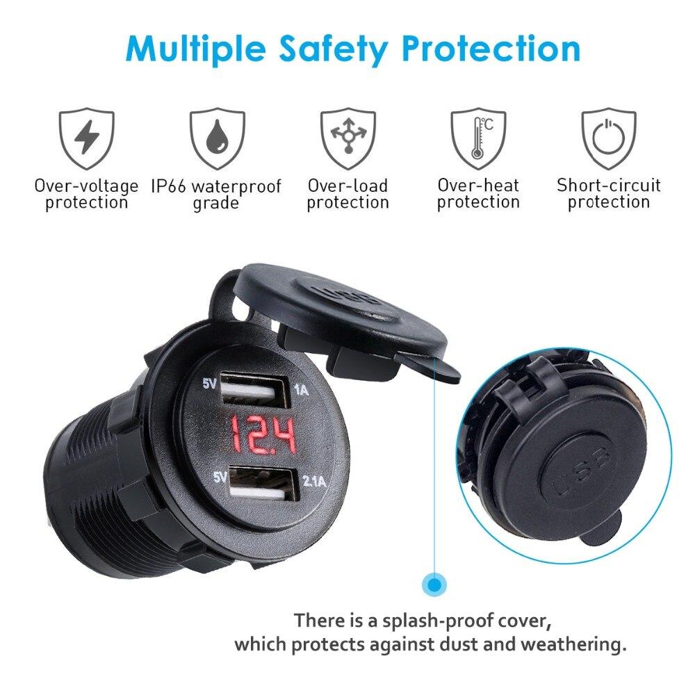 SOONHUA Dual USB Port Car Charger Cigarette Lighter Socket Plug LED Voltmeter Waterproof Mobile Phone Smart