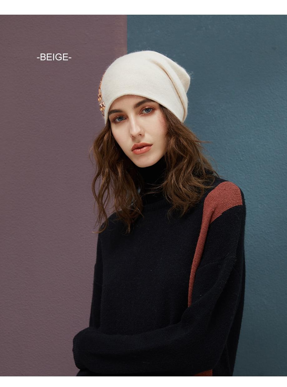 Women's Winter Beanies 2018 Stretchy Knitted Hat Flashing Glass Rhinestone Hat Female Cashmere Bonnets Elegant Warm Beanie Gorro (10)