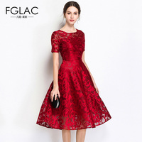 FGLAC 5XL Lace Dress summer short sleeved Casual Slim lace dress Fashion O neck Sexy Hollow Out Dresses Women Vintage Vestidos