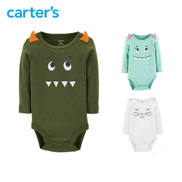 Carters Cute Monster Print Bodysuit baby girl long sleeve soft cotton bodysuits autumn winter newborn baby boy clothes 118I700