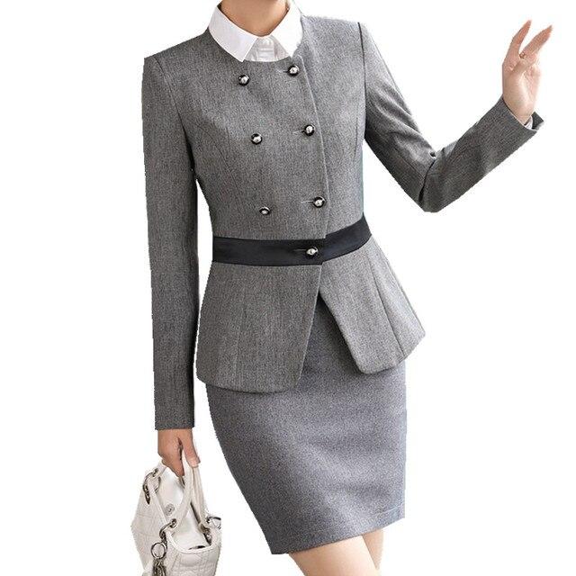 8708c04b45c6 Fmasuth Ladies Winter Business Skirt Suit Buttons Blazer Jacket+OL Skirt 2  Pieces Female Office