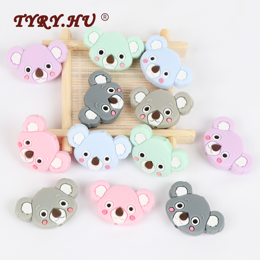 TYRY.HU 50pc Mini Koala Chewable Beads Food Grade Cartoon Silicone Beads Baby Teether Teething Toy DIY Pacifier Clip Accessories