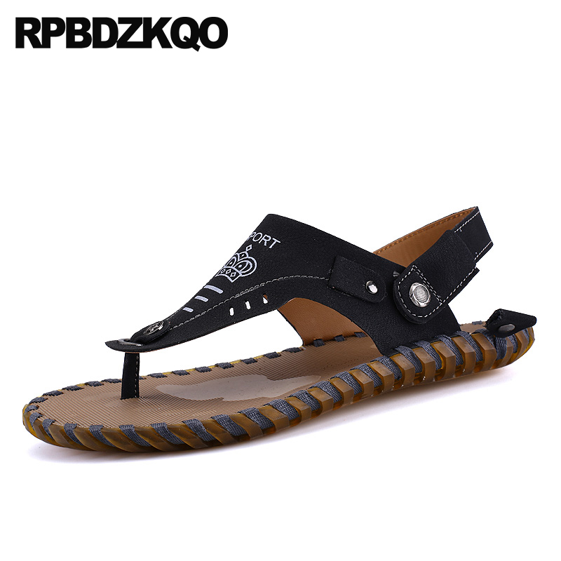 1b9ad807d5a051 Slippers Italian Waterproof Thong Black Soft Outdoor Shoes Casual Beach Men  Sandals Leather Summer Water Strap Slides 2018
