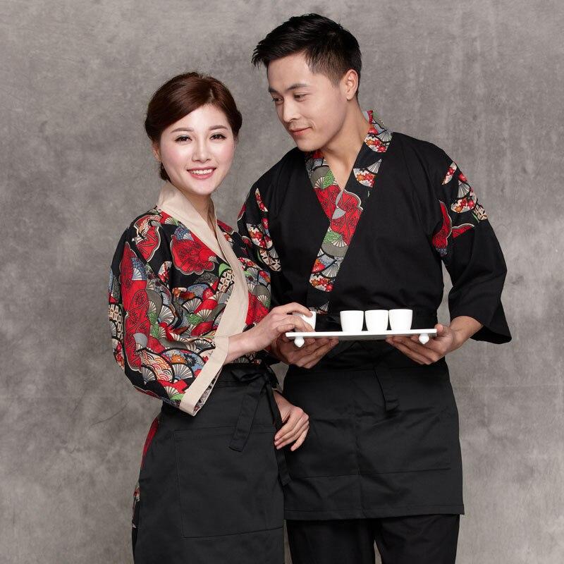 Japon Style chef uniforme japonais Chef service Kimono travail porter Restaurant travail vêtements outillage uniforme Chef vestes
