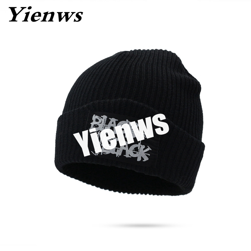 Yienws Black Skullies And Beanies For Men Women Beanie Hats Winter Female Baggy Cap Knitted Stocking Bonnet Hat Ski Caps YIC562 winter outdoor cycling caps bonnet femme women men winter warm ski knitted crochet baggy beanie hat skullies cap men hiphop hats