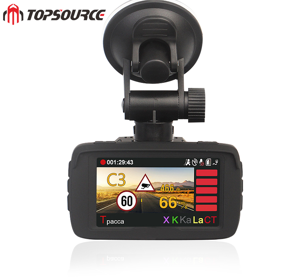 TOPSOURCE Auto Video DVR Camear Detector GPS 3 in 1 Ambarella Auto-detector HD 1080 P Re ...