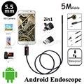 5.5 мм Объектив 5 М 2in1 Android USB Эндоскоп Водонепроницаемая Камера Гибкая Змея Труба Инспекции Android Телефон OTG USB Бороскоп камера