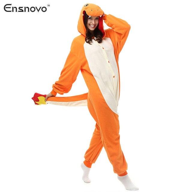 Ensnovo Onesies Hooded Pajamas women Winter Sloth Sleepwear Dragon Panda Skull Human skeleton Cartoon Cosplay Costume Pajamas