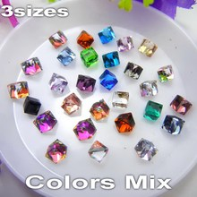 Factory direct sale 4*4mm 6*6mm 8*8mm Glue on Colors mix cubic Crystal glass rhinestone for nail art phone cover accessories diy