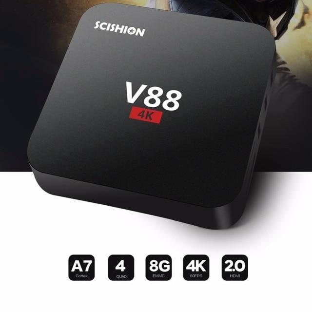 V88 4K Android 5.1 Smart TV Box Rockchip 3229 KODI 1G/8G 4 USB 4K 2K WiFi Full Loaded Quad Core 1.5GHZ KODI Media Player Mini PC