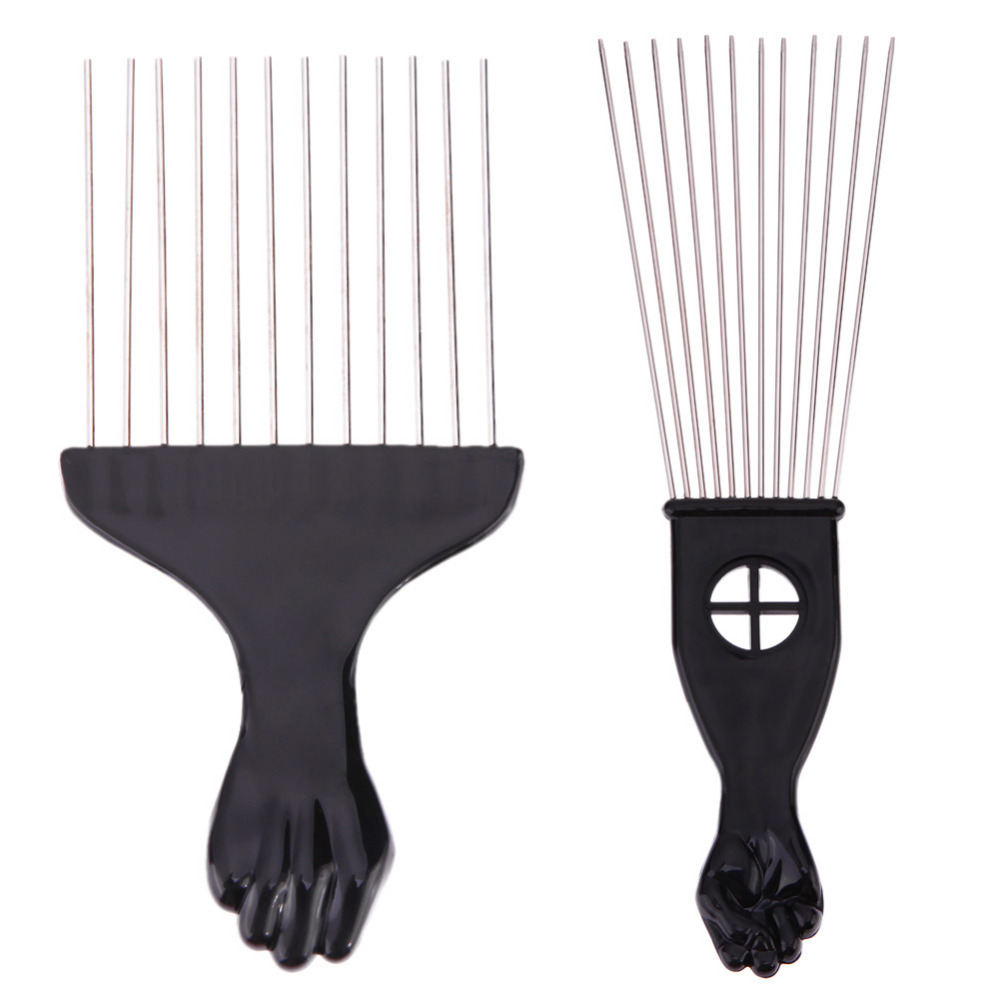 1PC Professional Salon Use Black Metal African Pick Comb Hair Combs Insert Hair Pick Comb Wide Teeth Fork Hair Curly Brush Comb