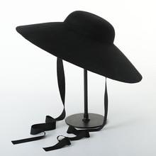 Muchique Chapéu de Disquete 100% de Feltro de Lã Chapéu do Inverno das  Mulheres Do Vintage chapéu Retro Bucket Chapéus para o In.. 19e097a9a23