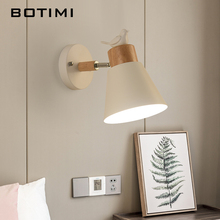 BOTIMI LED Wall Lamp Modern Adjustable Wall Sconce For Bedroom Metal Bedside Lights White Bird Wall Mount Wooden Kitchen Light